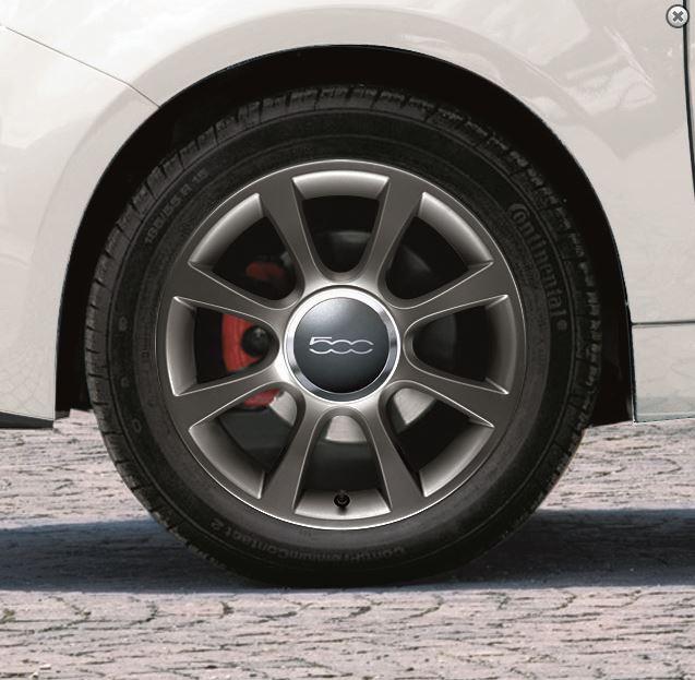 """16"""" Leichtmetallfelgen-Satz mattgrau - Fiat 500"""